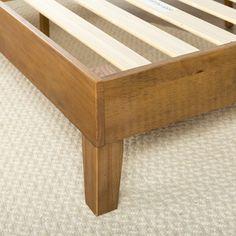 Priage Deluxe Solid Wood Platform Bed, Rustic Pine