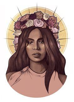 Beyonce Flower Crown Art