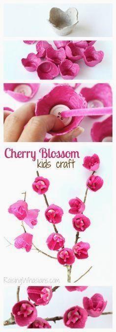 http://raisingwhasians.com/2016/04/cherry-blossom-craft-for-kids.htmCherry Blossom Craft for Kids | Upcycle old egg cartons into kids crafts! Easy spring craft idea