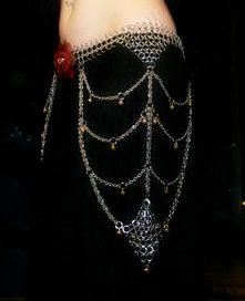 Chainmaille leather bellydance spider web belt.