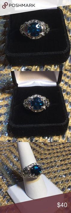 Royal Blue Majestic Crystal Ring Rich Royal Blue faceted Crystal Ring,  set in a 14K HGE.  High scrollwork setting gives it a unique look.  Fit for the Mother of Dragons.  Many on Posh sell this as a Sapphire.  If someone try's to sell you a Sapphire that's over one ctw for under 100 it's a fake Boutique Jewelry Rings
