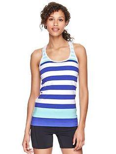 Gap: GapFit Breathe striped tank (350557)-cyan blue stripe, neon orange stripe, purple paradise  $19.95