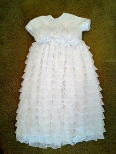 lds baby blessing dress with ruffles & flowers