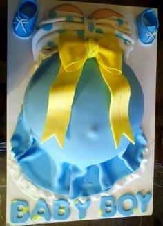Baby shower for boy by marcia Baby Bump Cakes, Baby Shower Cakes, Baby Shower Gifts, Baby Shower Duck, Baby Shower Gender Reveal, Baby Showe Ideas, Shower Ideas, Pregnant Belly Cakes, Luau Baby Showers