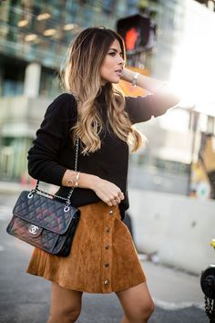 Black Turtleneck, Faux Suede Skirt, Isabel Marant Lola Farrah Booties, Chanel French Riviera Bag, Pam Hetlinger - The Girl From Panama