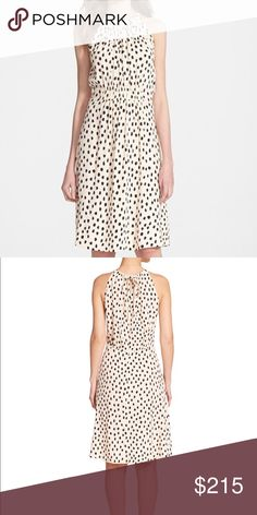 "New Kate spade leopard halter dress size 0 NEW with tags kate spade leopard dot dress  Delicate gathers define the flowing halter top of a knee-length leopard-dotted dress, while the flirty back keyhole ties with (what else?) a dainty bow. 41 1/2"" length (size 8). Back tie closure. 100% viscose. Dry clean. By kate spade new york; imported. Individualist. kate spade Dresses"