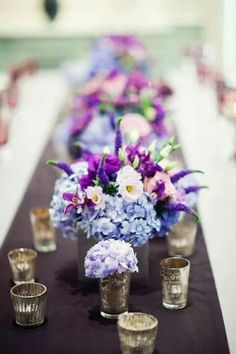 Image result for floral arrangement with blue flowers for long table