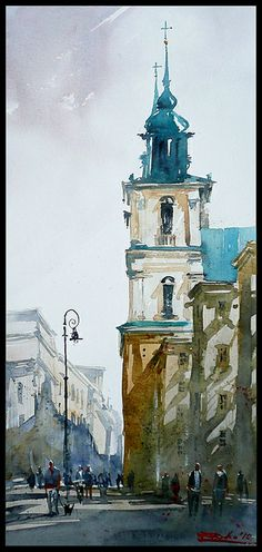 59 ideas landscaping city watercolor for 2019 Watercolor City, Watercolor Sketch, Watercolor Landscape, Watercolour Painting, Watercolors, Watercolor Architecture, Architecture Art, Architecture Details, Art Abstrait
