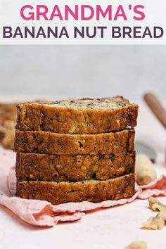 Grandma's Banana Nut Bread - A classic banana bread recipe packed full of mashed bananas and chopped walnuts; it can be prepped in 10 minutes and bakes up super moist and dense. Swap in different nuts or use chocolate chips, as well. A family favorite! Nut Bread Recipe, Banana Nut Bread, Super Moist Banana Bread, Zucchini Banana, Chocolate Chip Banana Bread, Banana Bread Recipes, Grandma's Banana Bread Recipe, Dessert Recipes, Desserts