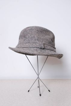 5719c080c19 60s Wool tweed herringbone vintage bucket fedora rain hat 7 mens vintage  clothing retro cosplay costume