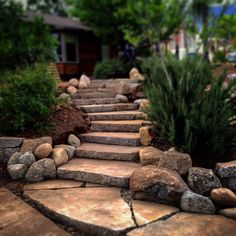 "Steps and garden terraces made from ""Urbanite"" (aka recycled broken concrete) by L.Santoyo - All For Garden Stone Landscaping, Landscaping With Rocks, Front Yard Landscaping, Landscaping Ideas, Backyard Patio, Outdoor Landscaping, Recycled Concrete, Broken Concrete, Landscape Stairs"