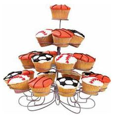 Have A Ball! Cupcakes - Have all the bases covered with this sports-minded centerpiece. Display baseballs, basketballs and soccer balls on the Cupcakes ´N More Dessert Stand for easy serving. Watch our online video.