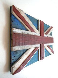UK Reclaimed Pallet Flag Wall Art 3D by SibusFurnitureDecor