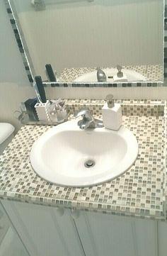 Tile old laminate vanity and tile mirror Tile Mirror, Diy Vanity, Counter, Sink, Bathroom, Home Decor, Bath Room, Homemade Home Decor, Vessel Sink