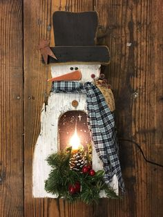 Items similar to Rustic Primitive Lighted Snowman on Etsy Christmas Wood Crafts, Primitive Christmas, Christmas Signs, Christmas Snowman, Rustic Christmas, Christmas Projects, Winter Christmas, Holiday Crafts, Christmas Ornaments