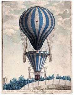 This print from a watercolor and ink illustration shows aerobatics performed by Francesco Orlandi in Bologna, Italy. Orlandi flew throughout Italy. There is a parachute below the bag and propellers on either side of the basket. Circa 1828.