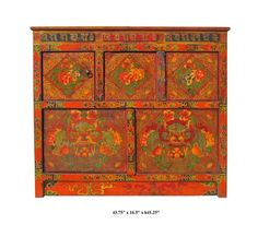 """You are looking at a unique Tibetan dragons & peony flowers graphic wooden cabinet. There are two compartments separated by 3 hidden doors. This is the traditional """" No Nails"""" design with art works hand painting."""