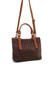 Leather bag brown leather handbag shoulder bag by DeMamora