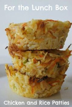ngredients 3 cups cooked rice (I used brown) 1 cooked chicken breast (shredded) 1 carrot (grated) 3 spring onions sliced 1 1/3 cup grated cheese 3 eggs  Mix all ingredients together, leaving some cheese to sprinkle on top.  Spoon into greased muffin tray and bake at 200 degrees for about 15mins.