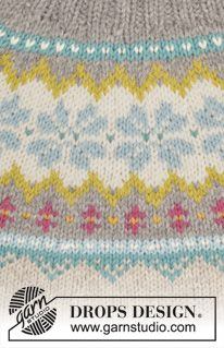 "October Dream - Knitted DROPS jumper with Norwegian pattern, round yoke and high collar in ""Nepal"". Size S-XXXL. - Free pattern by DROPS Design Punto Fair Isle, Tejido Fair Isle, Motif Fair Isle, Fair Isle Pattern, Fair Isle Knitting Patterns, Sweater Knitting Patterns, Knitting Charts, Free Knitting, Baby Knitting"