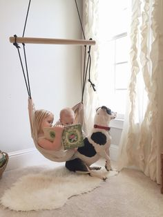 Our simplistic hammock is an alluring, purposeful addition to any playroom, nursery or childrens indoor space. The modern design and neutral