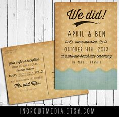 Wedding Announcement postcards -  Eloped, Ocean, We did, we said I do, we got married, Destination Wedding, Reception