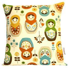 Babushka Cushions---too cute! love the whimsy Fabric Patterns, Print Patterns, Handmade Cushions, Matryoshka Doll, Diy Crafts, Crafty, Pillows, Retro, Prints