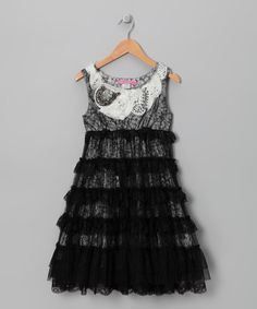 {Black & White Lovely Lace Dress - Toddler & Girls by Le Pink}