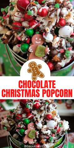 Drizzled with chocolate and sprinkled with chocolate candies and Christmas sprinkles, this Chocolate Christmas popcorn is the perfect festive treat to make at home with the kids or to package up for neighbor gifts! Christmas Popcorn, Christmas Sprinkles, Christmas Baking, Christmas Treats, Slow Cooker Recipes Dessert, Dessert Recipes For Kids, Fun Desserts, Delicious Desserts, Chocolate Candies