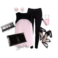 See more Black pant, light pink blouse, high heel sandals and black hand bag for ladies