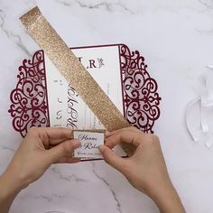 grand entrance - burgundy laser cut wrap with classic invitation and glittery belly band stylish burgundy and rose gold laser cut wedding invites with belly band and tag STEP-BY-STEP INSTRUCTIONS and PHOTOS to. Wedding Invitation Video, Burgundy Wedding Invitations, Sunflower Wedding Invitations, Laser Cut Wedding Invitations, Cricut Invitations, Rustic Invitations, Wedding Card Design, Wedding Cards, Gold And Burgundy Wedding