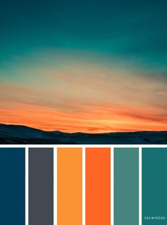 Orange teal sky inspired color palette ,landscape color scheme - - Orange teal sky inspired color palette A pretty colour palette. To get you started on your own palette, we've created over 100 beautiful colour palettes. Orange Color Palettes, Color Schemes Colour Palettes, Colour Pallette, Bedroom Color Schemes, Teal Colors, Summer Colors, Warm Colors, Orange Palette, Orange Color Schemes