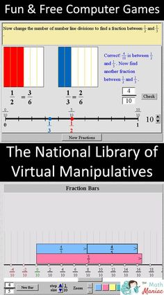 Have you used the National Library of Virtual Manipulatives? This website is a teacher's treasure box of applets and games that making learning math hands on and engaging. Great for and so versatile. Fractions, You Oughta Know, Fifth Grade Math, Math Intervention, Homeschool Math, Homeschooling, Elementary Math, Elementary Library, Math Workshop