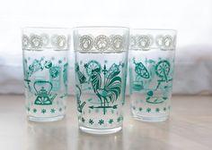 Roosters ON vintage glassware!?  Favorites on favorites!