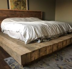 Check out this truly EPIC barn beam bed frame! Bed Frame Design, Diy Bed Frame, Bed Design, Floor Bed Frame, Reclaimed Wood Bed Frame, Wooden Bed Frames, Wooden Bed Base, Wooden Beds, Wood Bedroom