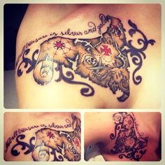 "My new tattoo! Treasure map, pirates of the Caribbean jack sparrow quote skull ""Not all treasure is silver and gold"""