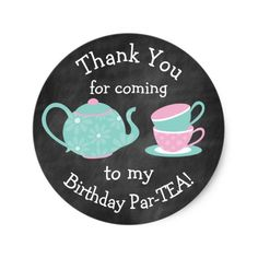 Tea Party Stickers- Bday Par-tea Round Sticker https://www.zazzle.com.au/tea_party_stickers_bday_par_tea_round_sticker-217239498124653037?utm_content=buffer91257&utm_medium=social&utm_source=pinterest.com&utm_campaign=buffer Click through to find matching games, favors, thank you cards, inserts, decor, and more. Or shop our 1000+ designs for all of life's journeys. Weddings, birthdays, new babies, anniversaries, and more. Only at Aesthetic Journeys