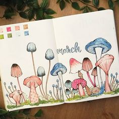 Bullet journal monthly cover page, March cover page, mushroom drawings. | @shouthuzzahdoodles