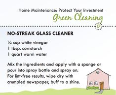 Green cleaning recipe for windows and mirrors.