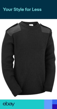 65edbeb6303c3 Black Mens Crew Neck Military Army Security Police Sweater Pullover Jumper  Top