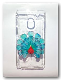 Handmade Samsung Galaxy Note 3 case, Resin with Dried Flowers, Peacock