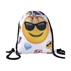 Back to School Girl Teenage Emoji Sunglasses Smile White Design... (£9.01) ❤ liked on Polyvore featuring bags, backpacks, back to school, backpack, girls, school, backpack bags, white drawstring bag, white backpack and knapsack bag