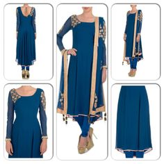Prussian blue suit with bead work