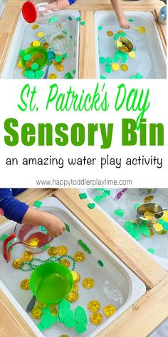 St Patrick's Day Sensory Activity - HAPPY TODDLER PLAYTIME Check out this St Patrick's Day sensory activity that your toddler or preschooler will absolutely love! It's also a great way to learn and talk about colours and shapes! Water Play Activities, Sensory Activities Toddlers, Motor Skills Activities, Games For Toddlers, Spring Activities, Montessori Activities, Sensory Bins, Infant Activities, Sensory Play