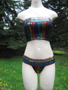 RAINBOW Circus Showgirl Metallic Sequin Strapless Bandeau Two-Piece Thong Bikini by getjuliet, $40.00