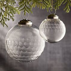 Alexandra Clear Glass Ball Ornaments | Crate and Barrel