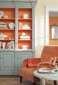 Tangerine Tango and Benjamin Moore Wyeth Blue together. via Vivere: January 2012