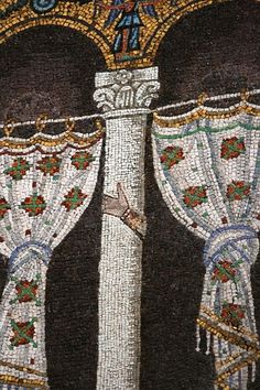 Sant'Apollinare Nuovo - Ravenna, Italy. This mosaic had images of the Arian king, Theodoric, and his court removed. However, on some columns their hands remain.