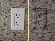 Electrical outlets should be used not seen! Hand painted in place to match color, grain and texture of granite backsplash. What a difference!