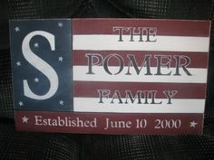 Large Patriotic outdoor family sign....personalized with address, established date, and family name...great gift or for your own home....